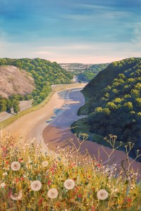 flowers at the sea walls looking at clifton suspension bridge in the avon gorge by Jenny Urquhart