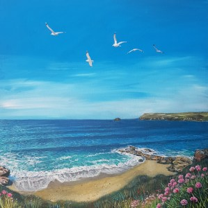 polzeath beach in north conrwall with seagulls in the sky by jenny urquhart