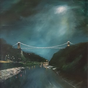 moonlight shining in the avon gorge above the clifton suspension bridge by Jenny Urquhart