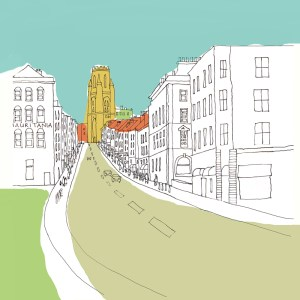 Park street is one of Bristols main shopping streets with Wills Building at the top by Jenny Urquhart