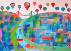patchwork bristol collage clifton suspension bridge by jenny urquhart