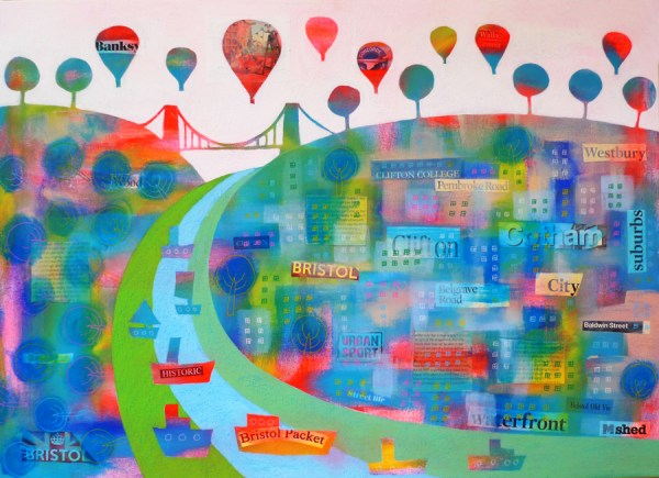 patchwork bristol collage clifton suspension bridge by jenny urquhart