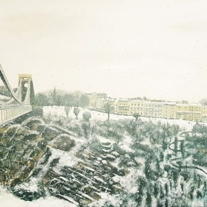snow falling in the avon gorge with sion hill and clifton suspension bridge by Jenny Urquhart