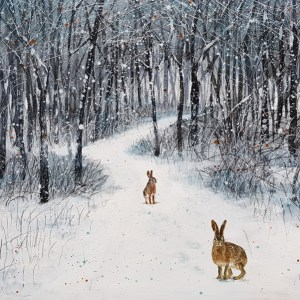 snowfall stops the chasing of two hares through woodland by jenny urquhart