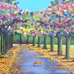 Urban fox walking in autumn leabes along the promenade in clifton by Jenny Urquhart
