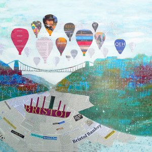 Bristol hot air balloons, Clifton Suspension Bridge and SS Great Britain by Jenny Urquhart