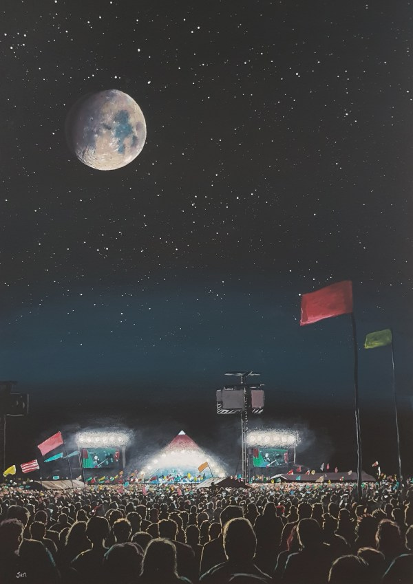 Glastonbury festival infront of the pyramid stage under a full moon by jenny urquhart