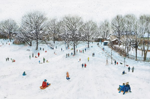sledging in the snow in redland green park by jenny urquhart