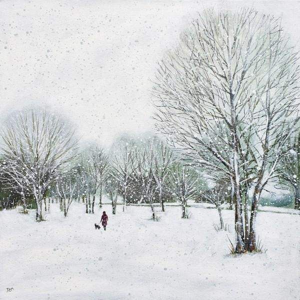 walking the dog on Durdham downs in westbury park by jenny urquhart