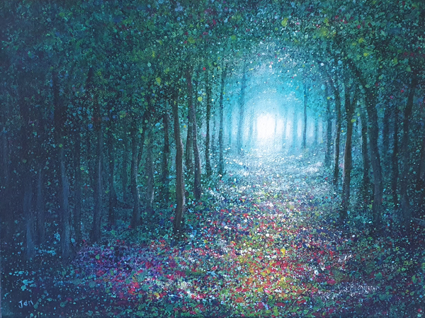 pathway through a woodland with light in the distance by jenny urquhart