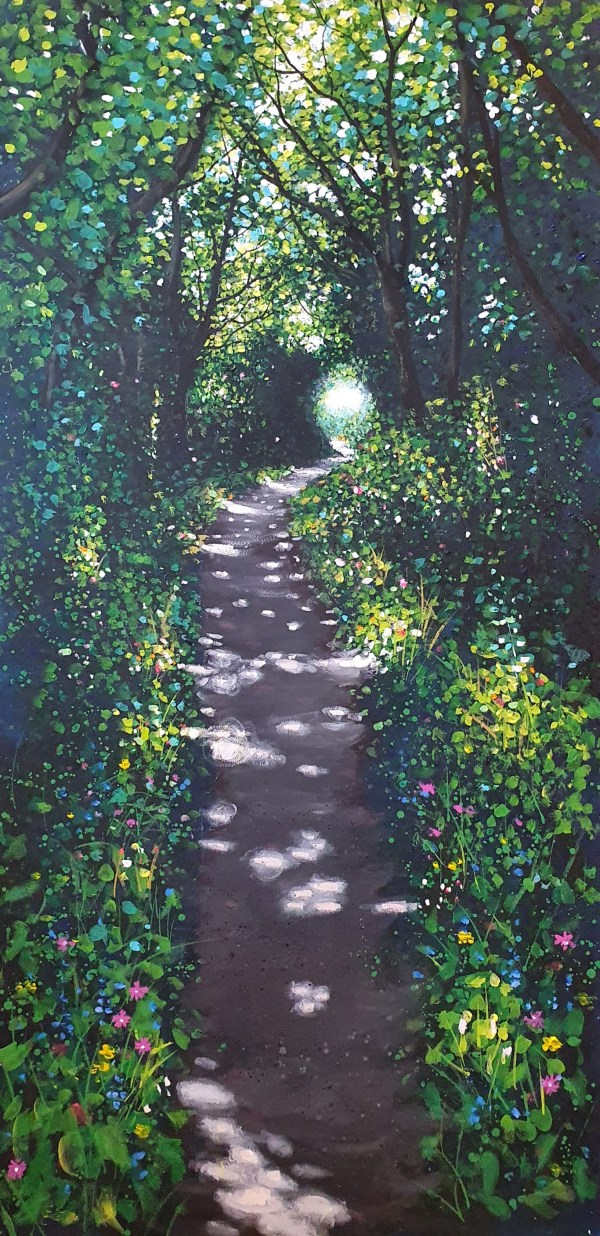 dappled path in cornwall by jenny urquhart