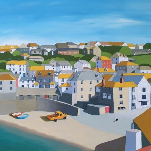 Port isaac rooftops with Inky the cat by Jenny Urquhart