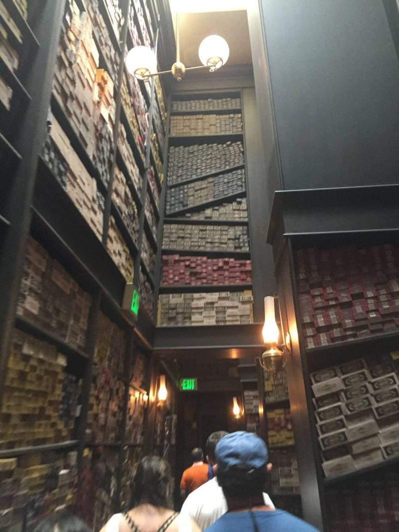 Inside Ollivander's wand shop