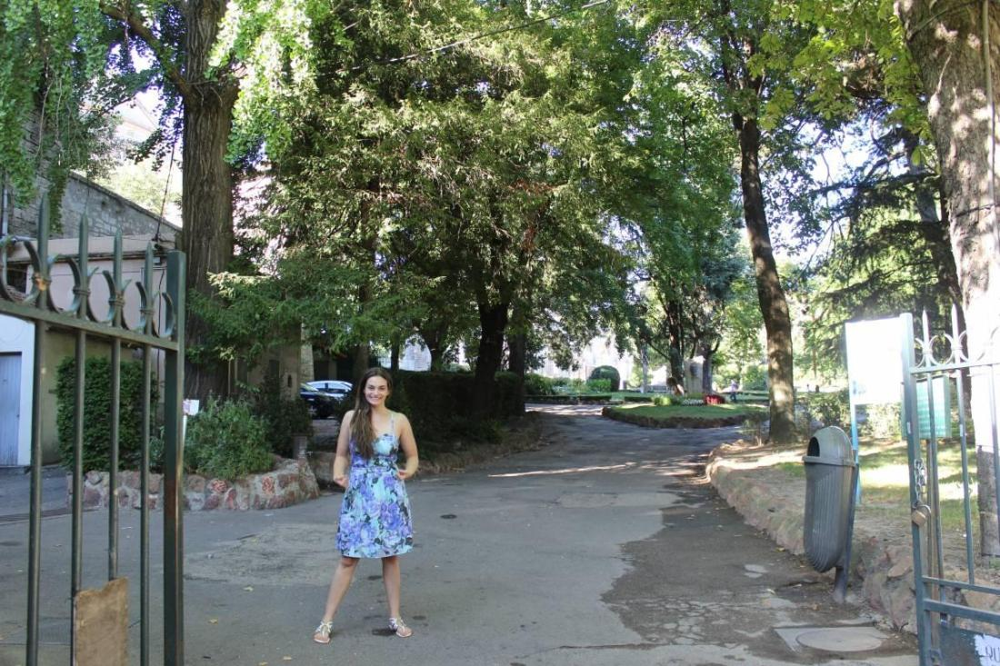 Standing at the entrance to the park