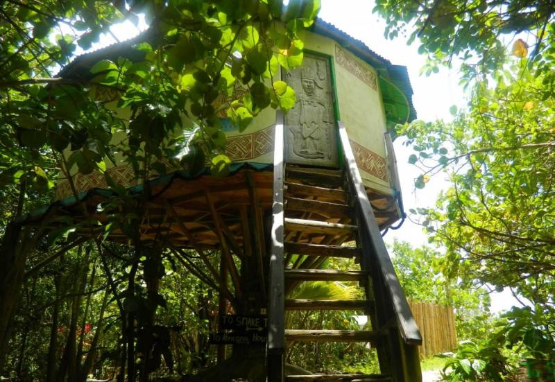 Elevated hut and stairs
