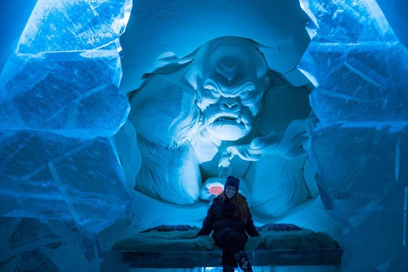 Snow sculpture of a menacing creature