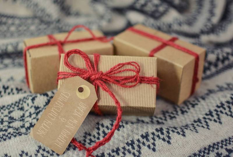Gifts wrapped in cardboard