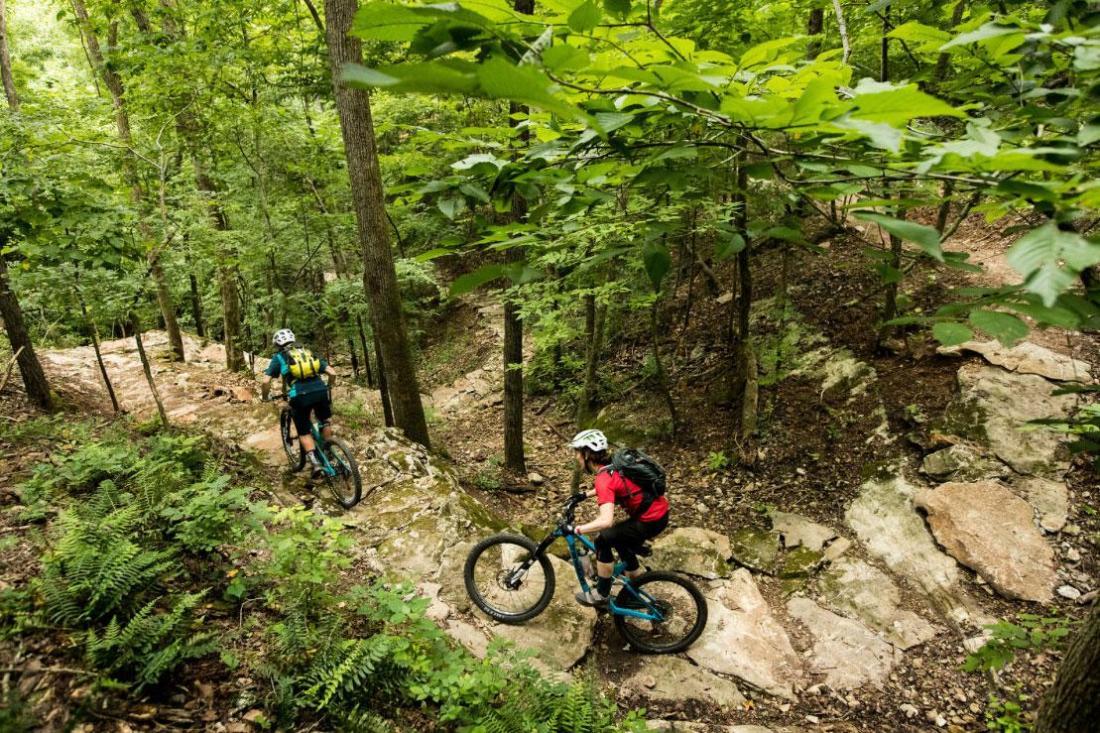 Mountain biking on trail in Bentonville