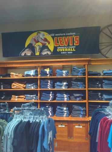 Levi Jeans sign above a wall filled with levi jeans fm light store steamboat springs co jenphotographs