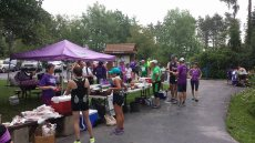 At the post-run barbecue, complete with hot dogs, s'mores, cold drinks, deliciousness and loud cheers.