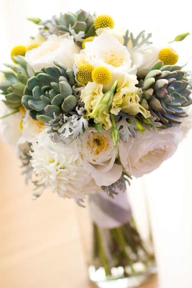 Succulent and Garden Rose Bouquet