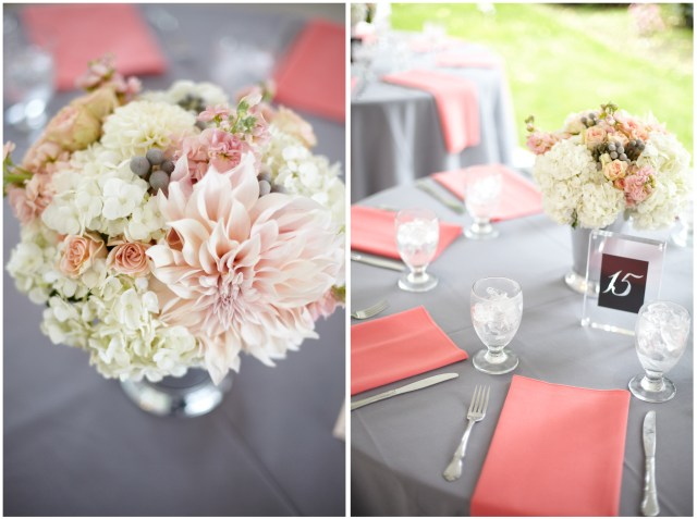 Coral & Gray Centerpiece by Jen's Blossoms || photo by Kate Price Photography
