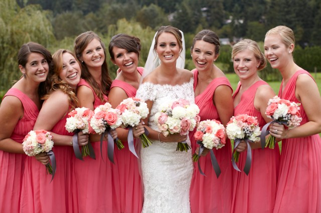 Coral, White & Gray Bouquets by Jen's Blossoms || photo © Kate Price Photography