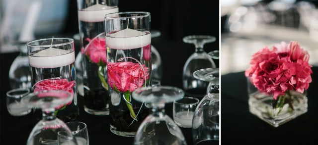 Hot Pink Centerpieces by Jen's Blossoms | photo by Melissa Kilner