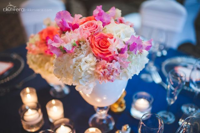 Coral, White & Pink Centerpiece by Jen's Blossoms || Photo by Rikki Rivera Photography