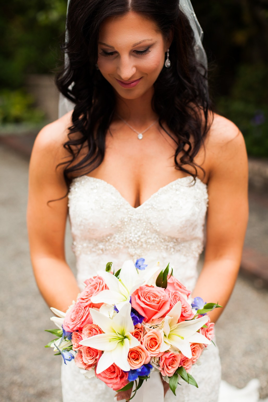Coral, White & Blue Bouquet by Jen's Blossoms || photo by Ciccarelli Photography