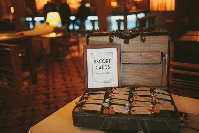 Vintage Suitcase Escort Card Display || Flowers, Design & Planning by Jen's Blossoms || Photo by: Shelby Brakken Photography