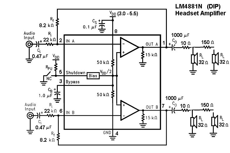 LM4881 Headphone Amplifier