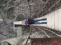 Superman on a hanging bridge at Monachil