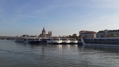 Vienna, Austria - ship docking area of the Danube River