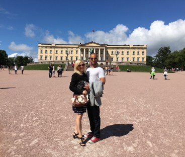 Posing in front of the Royal Palace