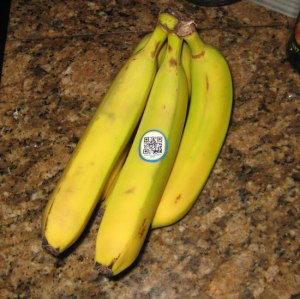 bananas with QR code