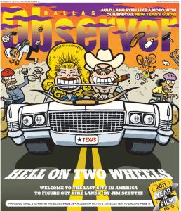 cars vs. bikes illustration - Dallas Observer
