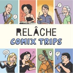 "CD cover art for Relache's ""Comix Trips"""
