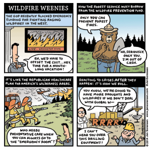 Cartoon about failure of Republicans to fund fighting wildfires in the West