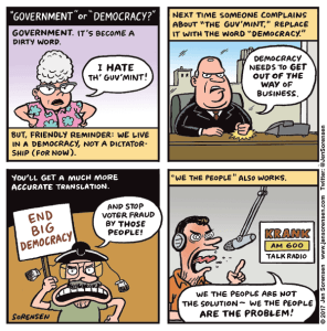 Cartoon about dealing with people who are anti-government