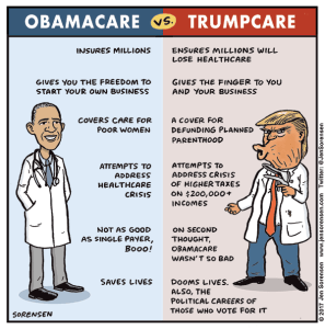 Cartoon: A handy comparison of Obamacare vs. Trumpcare