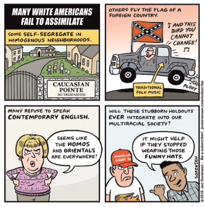 "Cartoon critiquing right-wing concepts of ""assimilation"" in America"