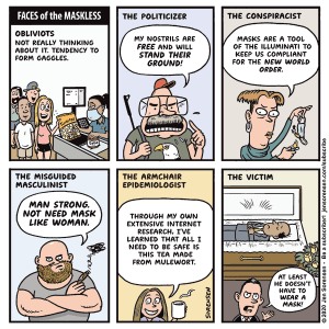 cartoon about face masks and coronavirus pandemic