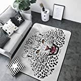 "Door Mat Living Room Non-Slip Safari,Leopard Illustration Predator Angry Silhouette Endangered Species Golden Eyes,Black White Amber 36""x 60"" Rugs  by KaMiao"