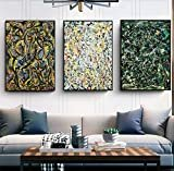 "INVIN ART Combo Painting 3 Pieces by Jackson Pollock Framed Canvas Giclee Print Art Abstract Wall Art Series #2(Black Slim Frame,24""x32""Each Piece)  Visit the INVIN ART Store"