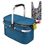 Tirrinia Large Insulated Picnic Basket, 26L Leakproof Collapsible Portable Cooler Basket Set with Aluminium Handle for Travel, Shopping, Camping, Attach with a Free Foldable Grocery Bag, Blue  by Tirrinia