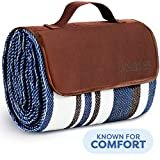 Extra Large Picnic & Outdoor Blanket Dual Layers for Outdoor Water-Resistant Handy Mat Tote Spring Summer Blue and White Striped Great for The Beach,Camping on Grass Waterproof Sandproof (SC-CM-01)  by Scuddles
