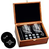 Whiskey Stones and Whiskey Glass Gift Boxed Set, 8 Granite Chilling Whisky Rocks, 2 Glasses in Wooden Box, Great Gift for Father's Day, Dad's Birthday or Anytime For Dad, Plus 2 Free Coasters  by Cool Stones