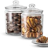 KooK Glass Storage Canister, Clear Jar, With Clear Glass Lid- 1/2 Gallon (Set of 2)  byKooK