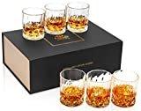 KANARS Whiskey Glasses Set of 6 with Elegant Gift Box,10 Oz Premium Old Fashioned Crystal Glass Tumbler for Liquor, Scotch, Cocktail or Bourbon Drinking Tasting  byKANARS